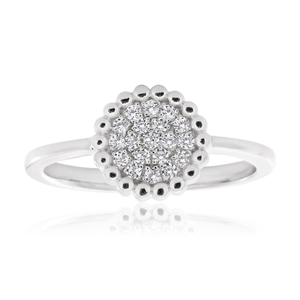 Sterling Silver Zirconia Bead Halo Ring