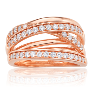 Sterling Silver Rose Gold Plated Zirconia Ring