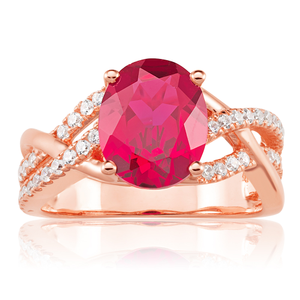 Sterling Silver Rose Gold Plated Created Ruby and Zirconia Ring