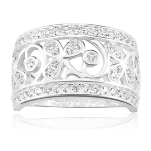 Sterling Silver Cubic Zirconia Pattern Ring