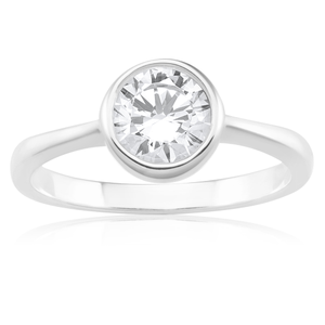 Sterling Silver 6.5mm Bezel Set Zirconia Ring
