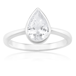 Sterling Silver 8x6mm Pear Shape Zirconia Ring