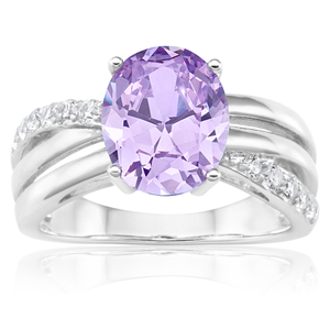Sterling Silver Rhodium Plated Purple Zirconia Oval Cut Cross Over Ring
