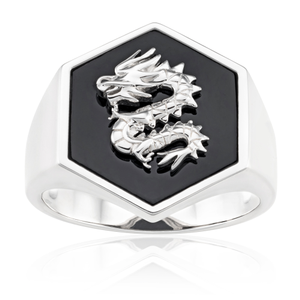 Sterling Silver Rhodium Plated Hexagonal Onyx Dragon Ring