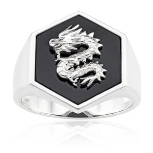 Sterling Silver Rhodium Plated Hexagonal Onyx Dragon Ring
