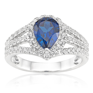 Sterling Silver Rhodium Plated Created Sapphire Pear Cut and Zirconia Halo Ring