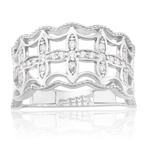 Sterling Silver Rhodium Plated Cubic Zirconia Fancy Cut Out Ring