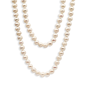 White Freshwater Long Pearl Necklace