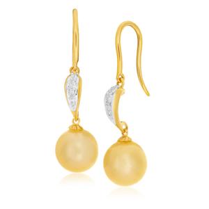 Cream Golden Pearl Drop Earrings