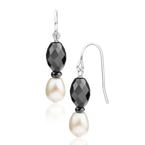 Freshwater Pearl + Hematite Drop Earrings
