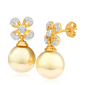 'Suki' 9ct Yellow Gold 10mm Golden South Sea Pearl + Diamond Stud Earrings