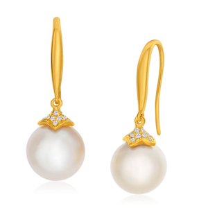 9ct Yellow Gold 11mm Golden Golden South Sea Pearl & Diamond Drop Earrings