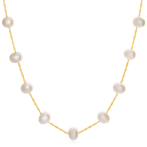 14ct Yellow Gold 6mm White Freshwater Pearl 45cm Necklace