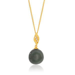 9ct Yellow Gold Black Tahitian Pearl Pendant