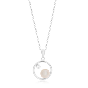 Sterling Silver White Freshwater Pearl Open Circle Pendant