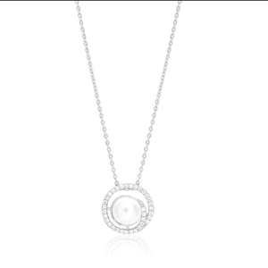 Sterling Silver White Freshwater Pearl Circle Pendant