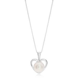 Sterling Silver White Freshwater Pearl Heart Pendant