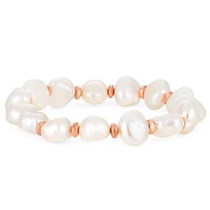 Freshwater Pearl and Rose Tone Stretch Bracelet