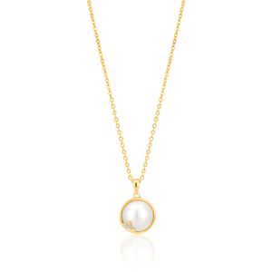 9ct Mabe Pearl & Diamond Pendant