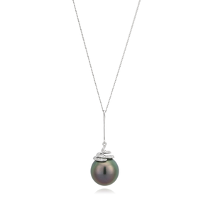 9ct Tahitian Pearl & Diamond Pendant on 45cm 9ct chain