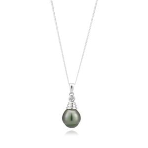 Tahitian Pearl & Zirconia Sterling Silver Pendant