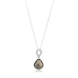 Tahitain Pearl & Zirconia  Sterling Silver Pendant