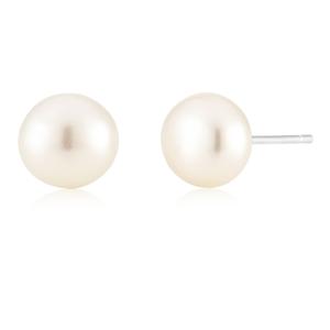 White 8mm Freshwater Pearl Stud Earrings