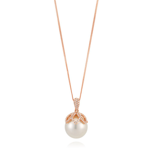 9ct Rose Gold South Sea Pearl & Diamond Pendant