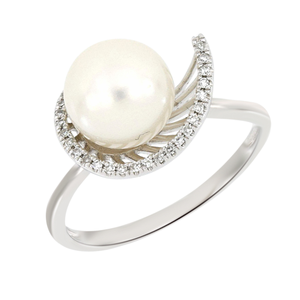 9ct Freshwater Pearl and Diamond Ring