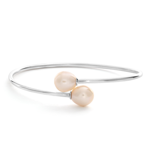 Sterling Silver 8-10mm Freshwater Pearl Bangle