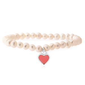 Sterling Silver 5-5.5mm White Freshwater Pearl Stretch Bracelet with Pink Heart