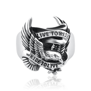 Forte Stainless Live To Ride Eagle Steel Ring