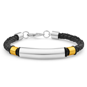 Forte Black Leather Fancy Barrel Bracelet