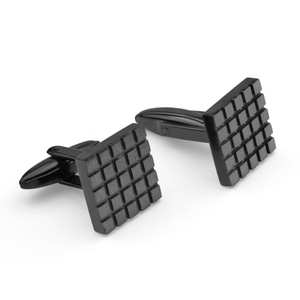 Forte Black Plated Stainless Steel Square Check Cufflinks