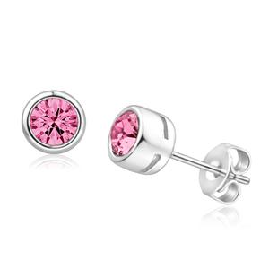 Platinum Plated Pink Swarovski Crystal Stud Earrings