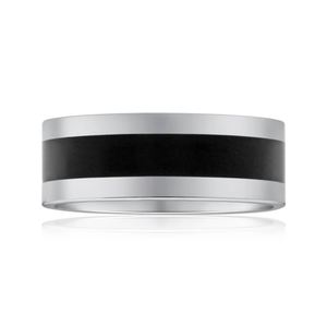 Tungsten Black Centre Gents Ring