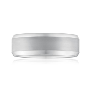 Tungsten 8mm Grey Centre Line Ring