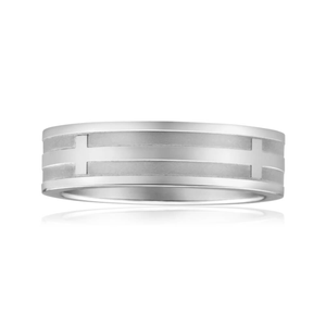 Stainless Steel Satin Grooved Gents Ring