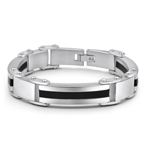 Forte Stainless SteelSingle Stripe Black Enamek 21cm Fancy Bracelet