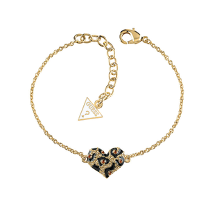 Guess Gold Plated Crystal Leopard Heart Bracelet