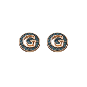 Guess Gold Plated Blue Crystal Disk Stud Earrings