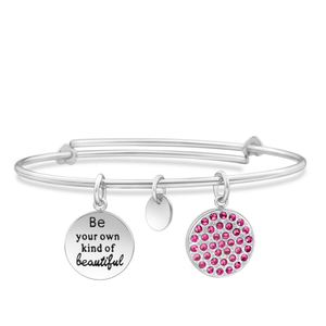 Stainless Steel Crystal Charm Bangle