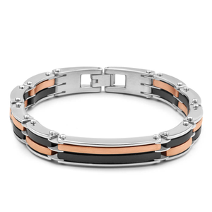 Forte Rose Gold Plate Stainless Steel Two Tone Fancy Link Bracelet