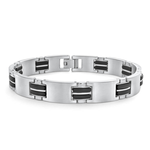 Forte Stainless Steel Rubber Link Fancy21cm  Bracelet