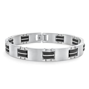 Forte Stainless Steel Rubber Link Fancy21cm  Bracelet