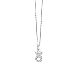 Guess Silver Plated Crystal Circle Pendant With Chain