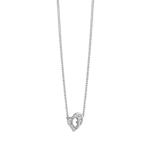 Guess Silver Plated Heart Crystal Pendant With Chain