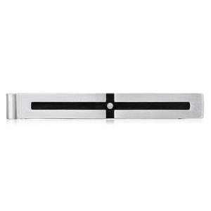 Forte Stainless Steel Cubic Zirconia Black Enamel Cross Accessories