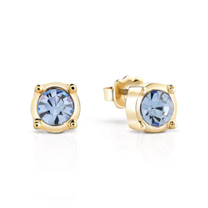 Guess Gold PlatedFeelings 4U Blue Crystal Stud Earrings