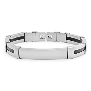 Forte Stainless Steel Black Silicon 20cm Fancy Bracelet